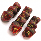 Burgundy & Gold Vortex D10 Ten Sided Dice Set